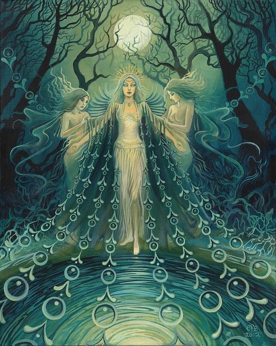 """Nyx ~ Goddess of the Night""   Painting by Emily Balivet.    One of the first and most powerful beings in the universe, Nyx is the daughter of Chaos and sister and consort to Erubus (the God of Darkness). Homer calls her the subduer of gods and men, and relates that even Zeus stood in awe of her."