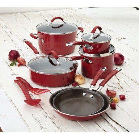Rachael Ray Cucina Hard Enamel Nonstick 12-Piece Cookware Set, Red