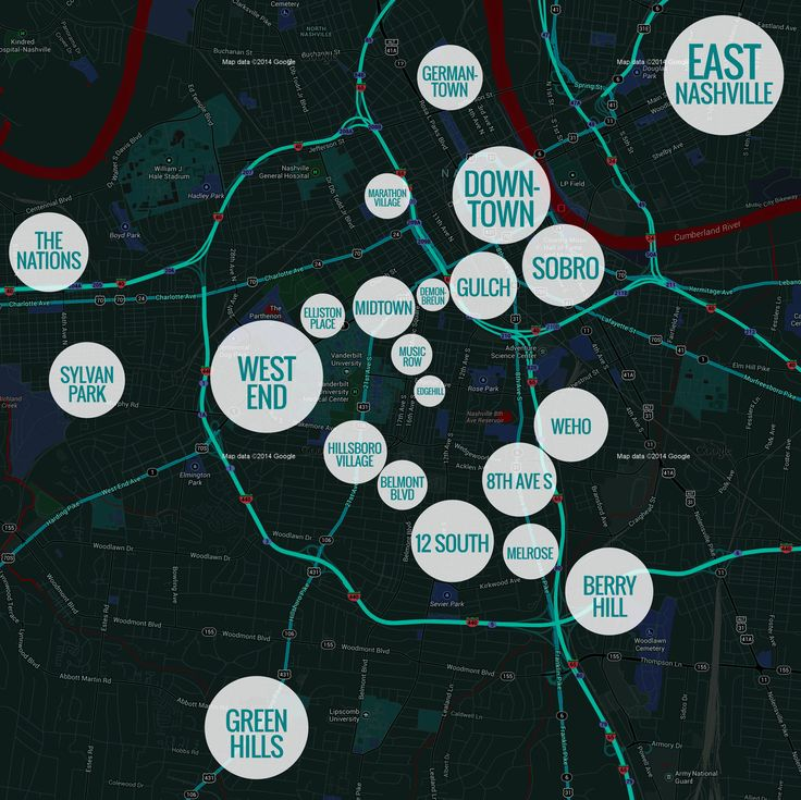 Nashville neighborhoods w/ specifics for each of the neighborhoods-recommended The Gulch & 12 South