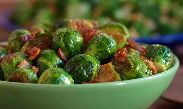 Roasted Brussels sprouts with bacon recipe #EatSmart