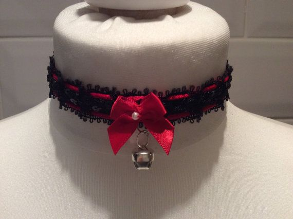 Sexy Black & Red Sequined Kitten Play Choker by NaughtyPleasures