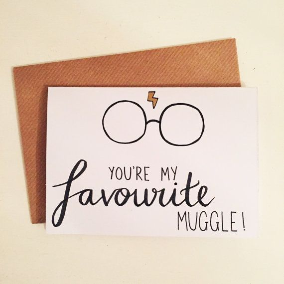You are my favorite muggle! A6 Card Harry Potter Quality Kraft Envelope Metallic Lightning Bolt Hand Illustrated Birthday Anniversary