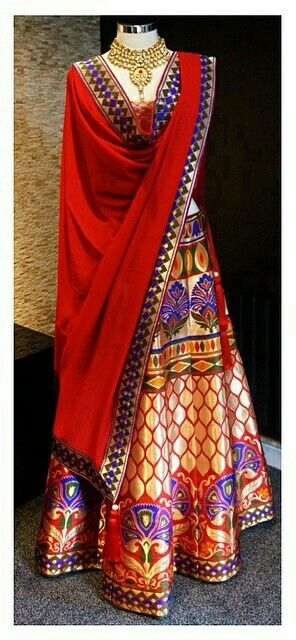 Colorful silk lehenga.