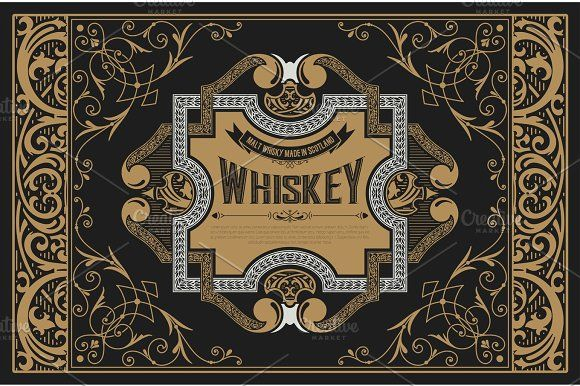 Old  label design for Whiskey and Wine label, Restaurant banner, by OneVectorStock on @creativemarket