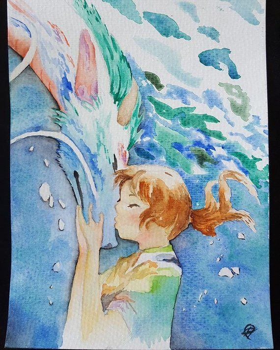 Original Travel From Spirited Away Watercolor Painting A5 Le