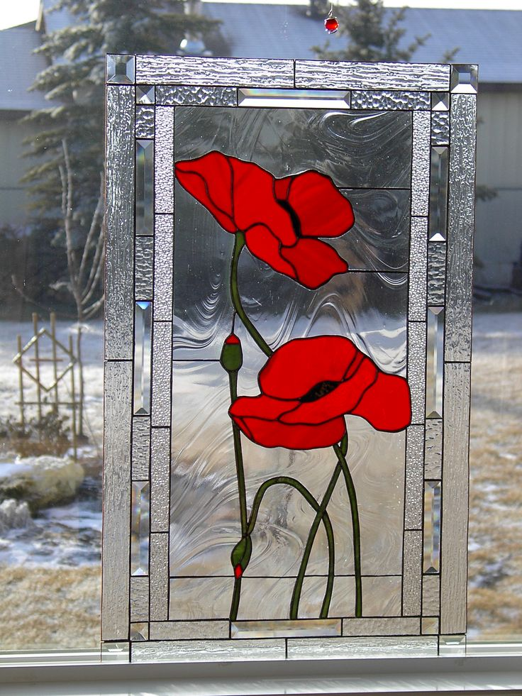 Large red poppy panel
