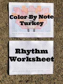 Elementary Music Worksheet to practice rhythms. Thanksgiving coloring page for kids. Worksheet for music class in November