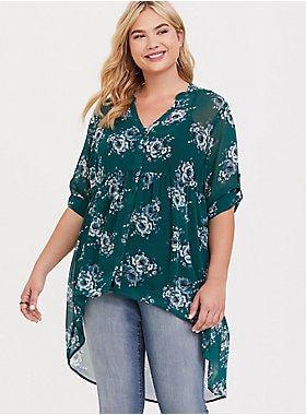 99732fe4 Lexie - Green Floral Chiffon Babydoll Tunic | Torrid | Wish List ...