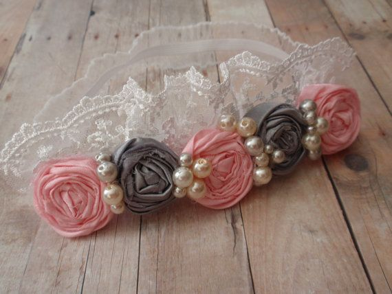 Pink and Grey Headband, Mustard Pie,  Kids Hair Accessory, Pink and Grey Flowers with Lace and Pearls Headband, Girls Hairpiece via Etsy