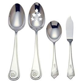 """Bring seaside chic style to your dining room table with this nautical-inspired hostess set, showcasing charming seashell handles. Product: 1 Tablespoon1 Pierced tablespoon1 Butter serving knife1 Sugar spoonConstruction Material: Stainless steelColor: SilverFeatures: Shell motifOversized spoon bowls Dimensions: Tablespoon: 9.5"""" H x 1.5"""" W Pierced tablespoon: 9.6"""" H x 1.6"""" W Butter serving knife: 6.75"""" H x 1"""" W Sugar spoon: 6"""" H x 1.2"""" W Cleaning and Care: Dishwasher safe"""