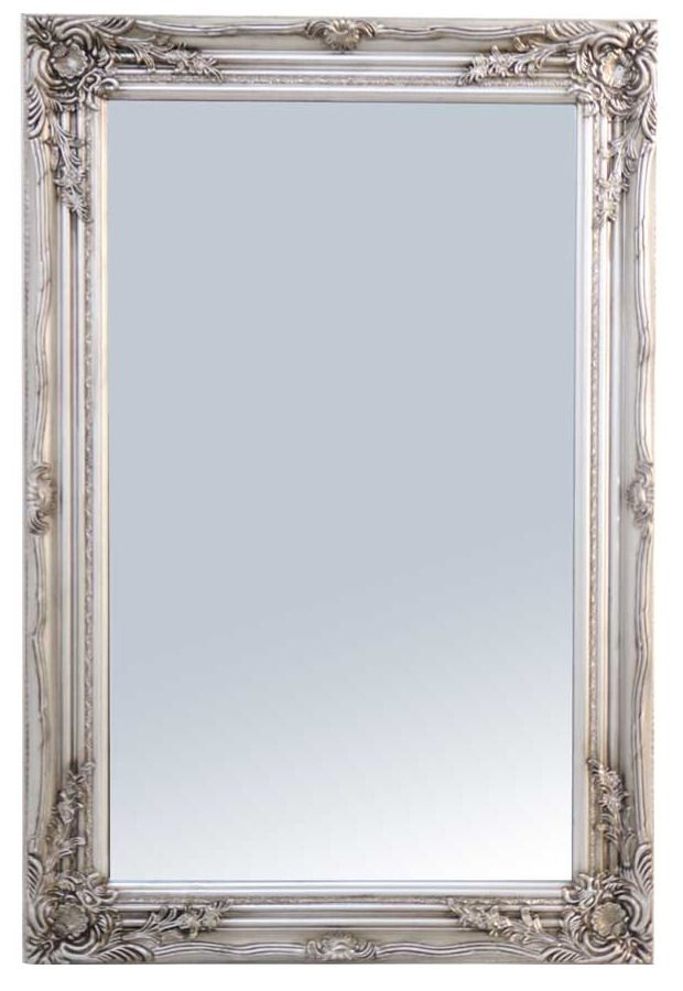 Large Ornate Antique Silver Wall Mirror 60cm X 90cm With Ornate