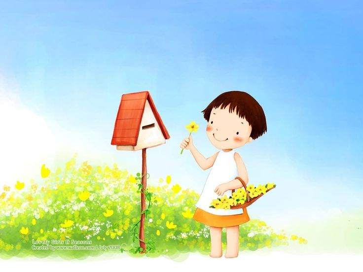 girl - cartoon - wallpaper - Kim Jong Bok - illustration - cute