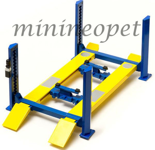 GREENLIGHT 12913 FOUR POST LIFT FOR 1/18 DIECAST CAR RAISES & LOWERS BLUE YELLOW #GreenLight