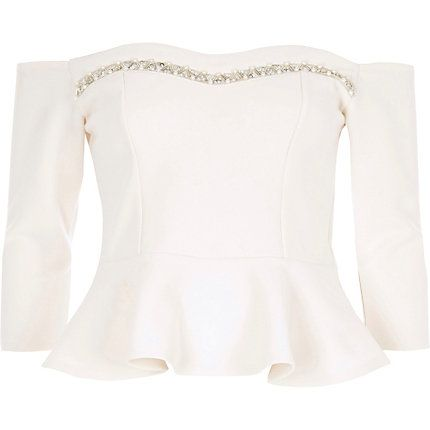 White embellished bardot fitted top $60.00