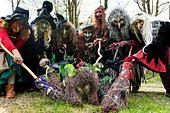 Wolfshagen, Germany. 24th Apr, 2016. Women dressed as witches practicing for the 'Night of the nights in the Harz - Stock Photo