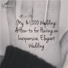 Please note: these are tips for a small, low-key wedding. This is for those of you that can't afford an extravagant ceremony and reception, but don't necessarily want to elope. These are merely ide...