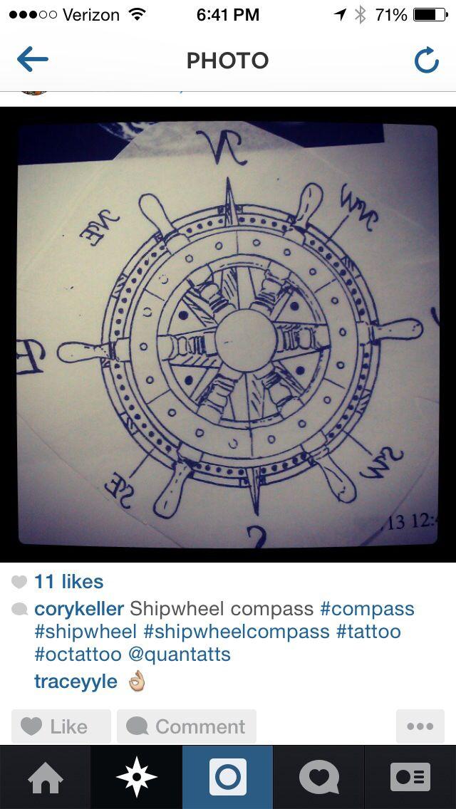Ship wheel compass tat