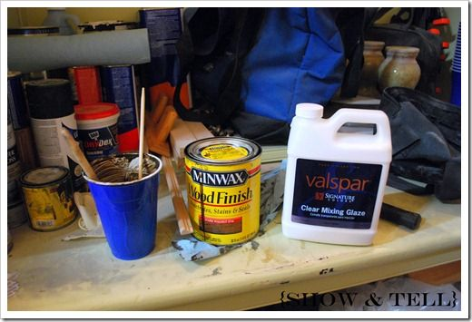 Valspar clear mixing glaze. Mix with minwax stain 3:1. This makes the glaze easier to work with and you don't have to act so quickly to remove it.