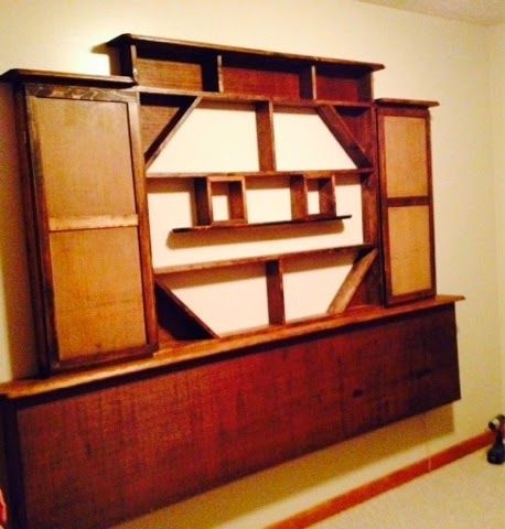 Hall tree from old door and 1800 39 s bed frame shelving for Tree shelving unit