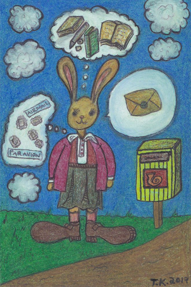 A new drawing Postipupu (Postal Bunny) to Rebecca Guyver of The Postal Ledger. http://www.tiinafromfinland.com/mail-art/new-drawing-bunny/ #mailart #drawing #bunnies
