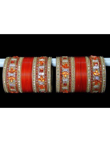 Gorgeous Orange & Golden Bangles http://www.bharatplaza.com/jewellery/bangles.html