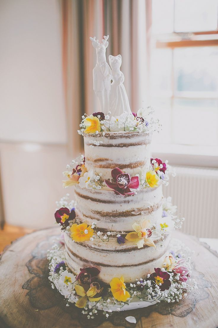 Naked Cake Sponge Icing Flowers Layer Topper Quirky Crafty Colourful Village Hall Wedding Jamesmelia