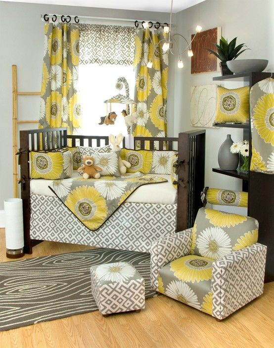 Yellow, grey with lilac accents :) my dream nursery for a girl