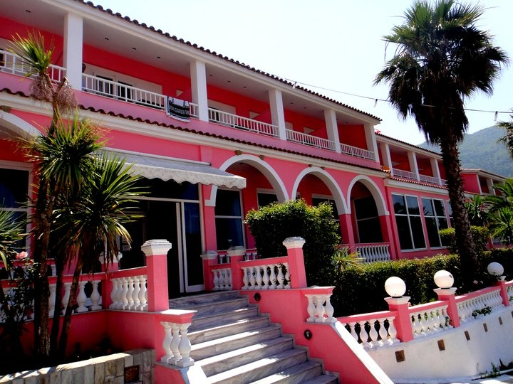 Pink Palace. Corfu. Greece.  This is where we stayed....it is a party palace for mostly backpacker's through Europe, but we crashed here and I don't remember too much!  lol!  :)