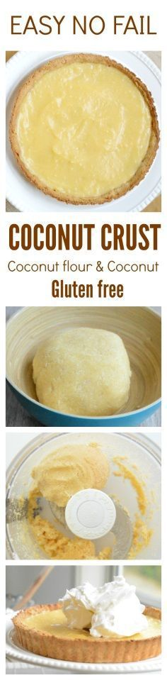 Easy, crispy, blender coconut crust, NO FAIL simply put everything in a blender and it is ready ! Works with any sweet pie: pumpkin, lemon, pecan etc. Gluten free & grain free.