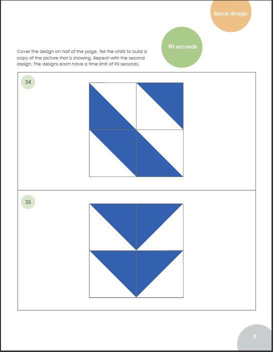 WISC IV subtests- Block Design - a core Perceptual Reasoning Subtest