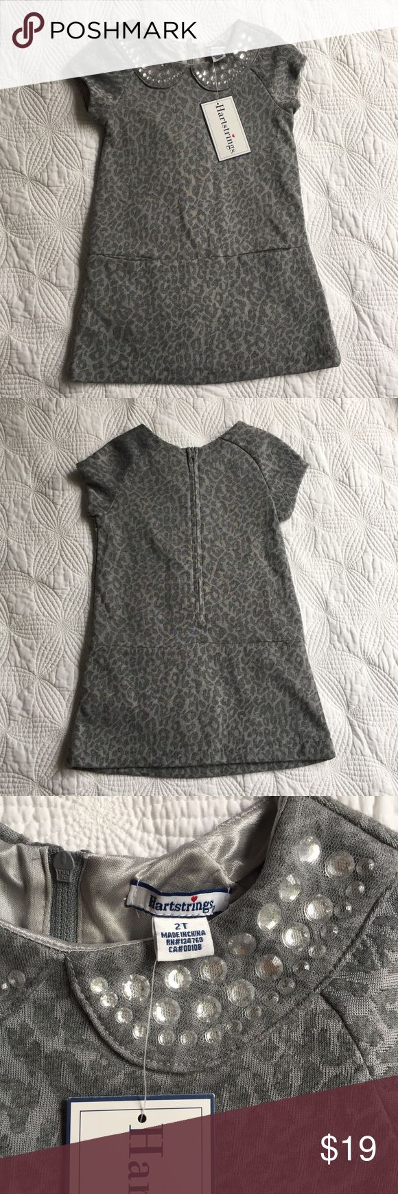 Hartstrings Gary Leopard Print Shift Dress NWT Hartstrings gray leopard print shift dress with jeweled Peter Pan collar. Size 2T. Jewels in collar are covered with matching mesh. Really cute. Heavy Jersey fabric. Hartstrings Dresses Casual