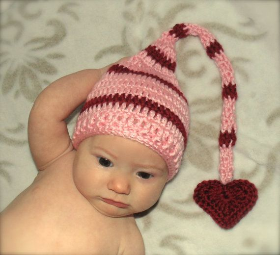 Valentines Day Pink and Red Heart Crochet Baby Elf Hat by BlackberryCrochet, $19.99