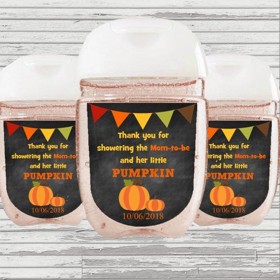 Pumpkin Theme Baby Shower Favor Hand Sanitizer Label Digital File