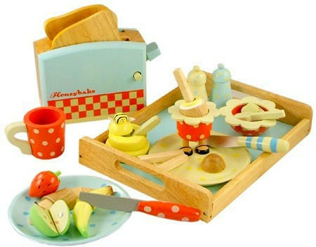 Cute wooden play food.