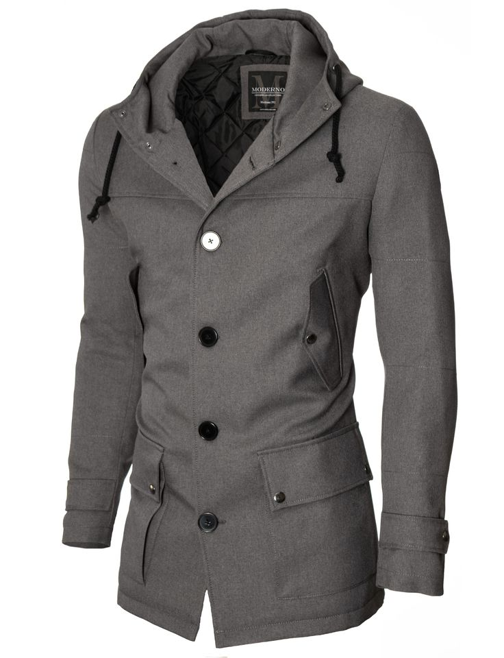 MODERNO Mens Casual Winter Parka Coat (MOD13533C) Gray. FREE worldwide  shipping! 30