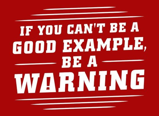 If You Can't Be a Good Example, Be a Warning T-Shirt   SnorgTees
