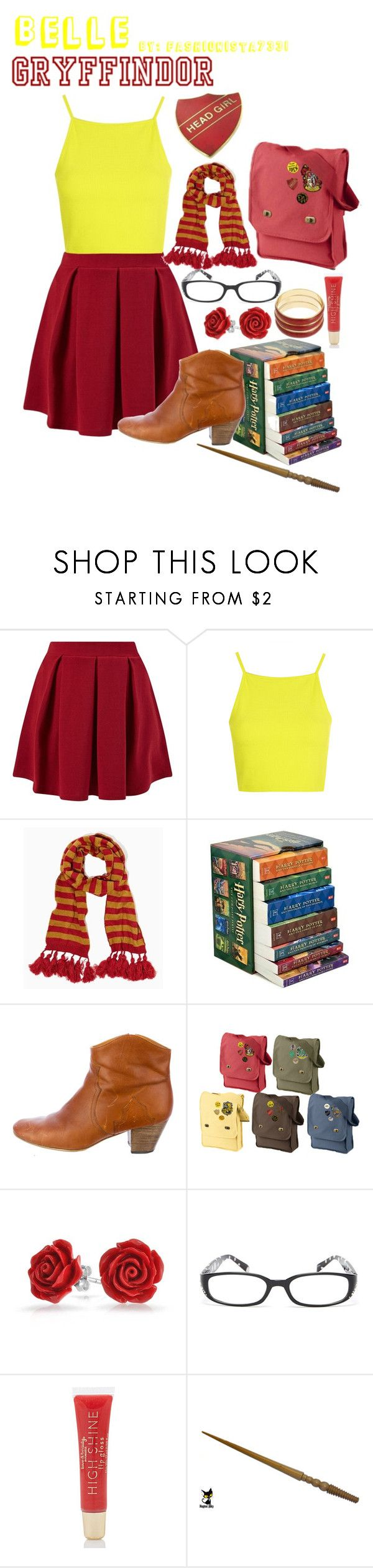 """""""Belle Gryffindor"""" by fashionista7331 ❤ liked on Polyvore featuring Cameo Rose, Topshop, INC International Concepts, Isabel Marant, Bling Jewelry, Madison Parker, Forever 21 and Robert Rose"""