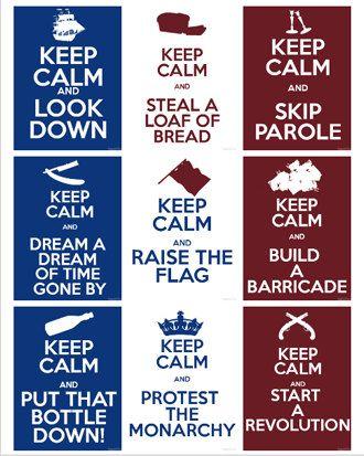 Les Miserables Keep Calm Postcards