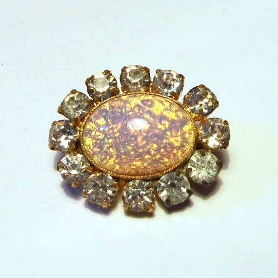 Vintage Opal Diamond Paste Brooch Sparkly Fire Glass Gem Gold Tone Setting