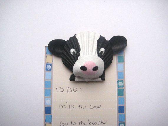 Cow magnet. Seashell cow magnet. Beach, nautical, Cape Cod cow art