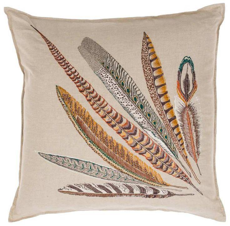 "Pheasant Feather Left Pillow 26""x26"" #26""-x-26"" #FW2015 #newws"