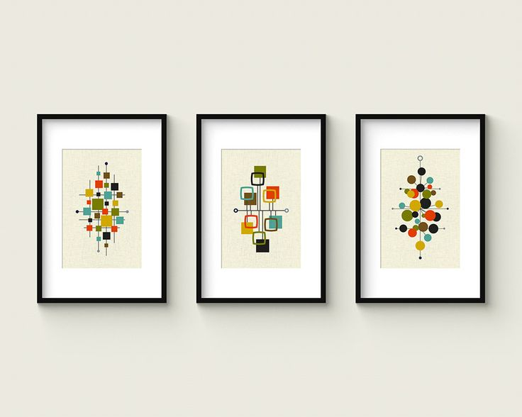 Mid Century Set no.1 Collection of 3 Giclee Prints by Thedor