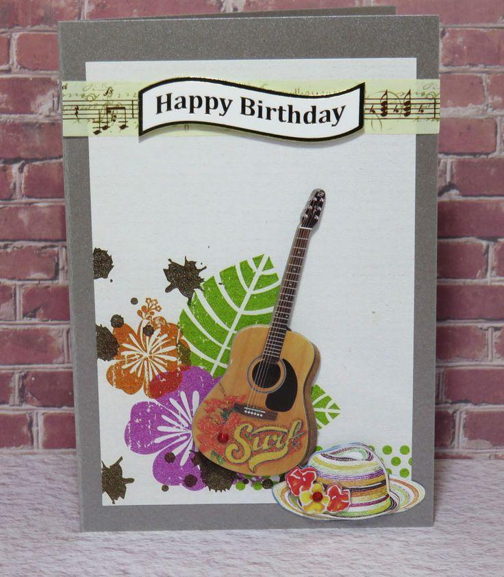 D10 Handmade  Greeting , Birthday , Gift , Card  , Music , Guitar , Surf