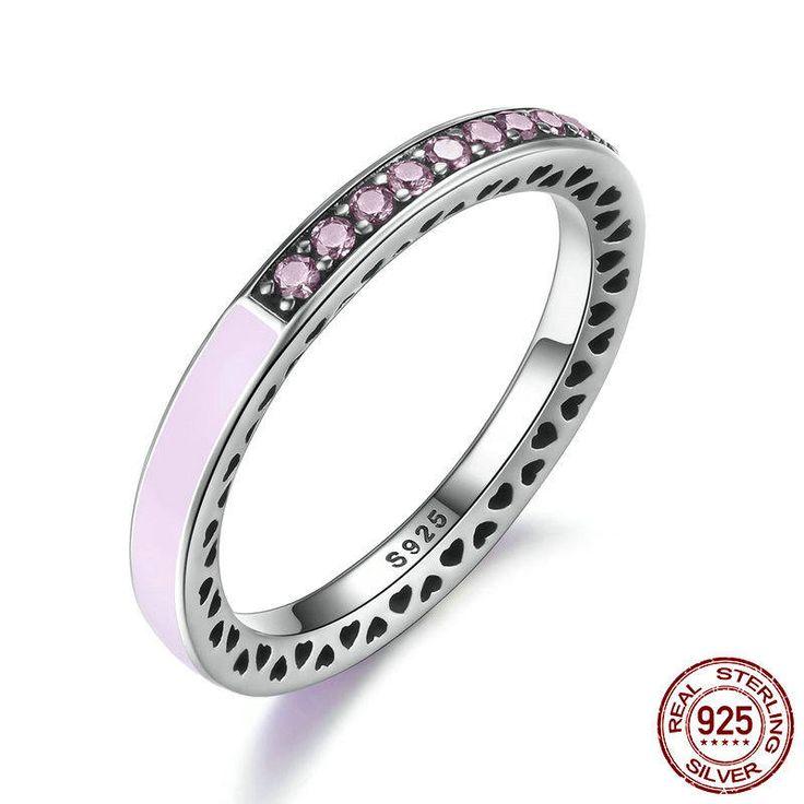 Fedina con zirconi rosa e smalto rosa 100% argento sterling Compatibile con misura europea anello di fidanzamento e Pan gioielli 7603 di OceanBijoux su Etsy