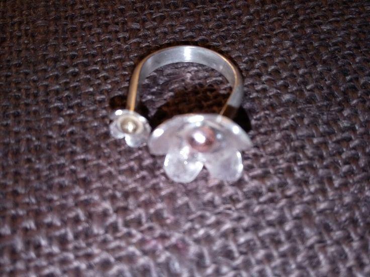 El yapımı gümüş yüzük. Bakır ve pirinç güverseli.. Handmade silver ring.