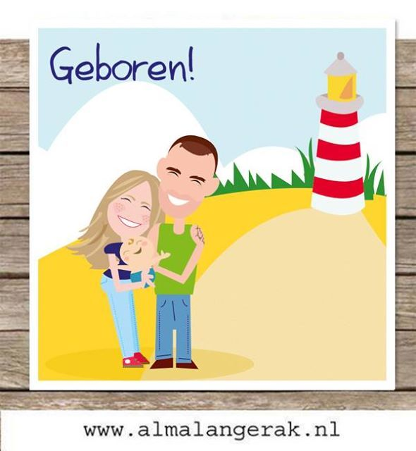 #custom #birth #announcements #illustrated #cartoon #maatwerk #geboortekaartjes #illustratie #vuurtoren #strand #beach