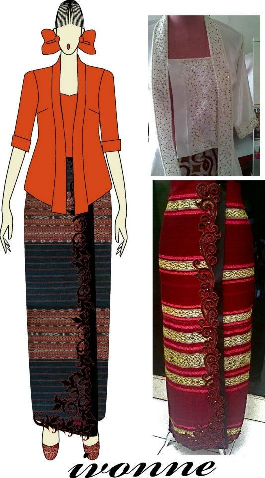Sarong embroidery with kebaya