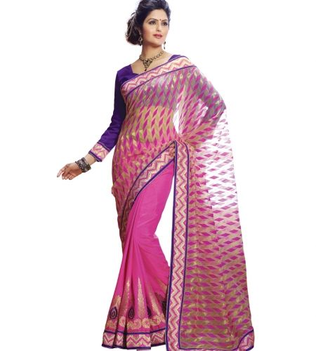 Buy Designer Sarees : Charming Magenta color Jaqurd With Fabric designer saree online