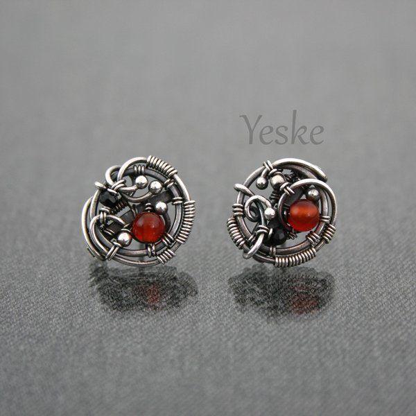 Icara   Asymmetrical wire-work post earrings by YeskeCrafts