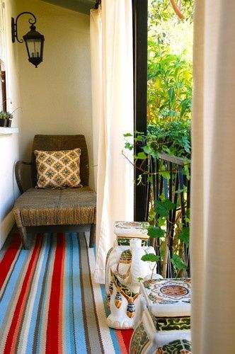 Apartment Balcony Idea. I Love The Idea Of Hanging Curtains On The Outside  For Some